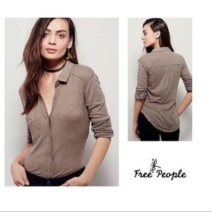 SOLD Free People Linen Caroline Button Down top